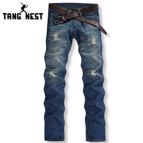 2017 Men's Jeans Without Belt Hole Light Blue Casual