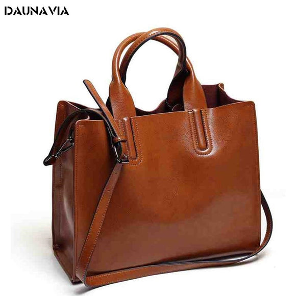 Women Leather Big Casual Tote Shoulder Bag