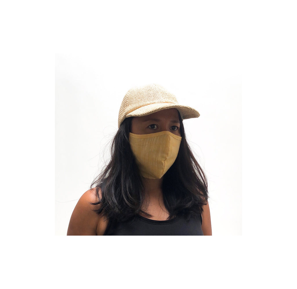Chambray cotton face mask with hemp/cotton lining