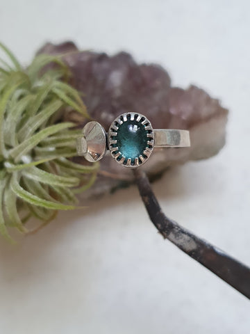 Crescent moon Apatite ring