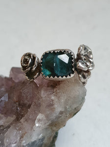 Indicolite Tourmaline & succulent ring *has flaw*
