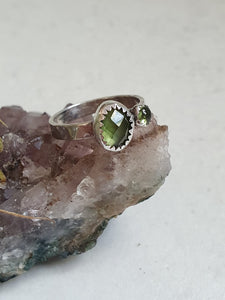Rose cut Peridot and mini Peridot pair
