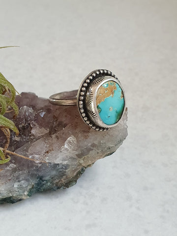 Gorgeous Royston, hand stamped bezel, silver ring