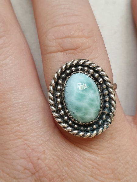 Larimar shadow box style ring
