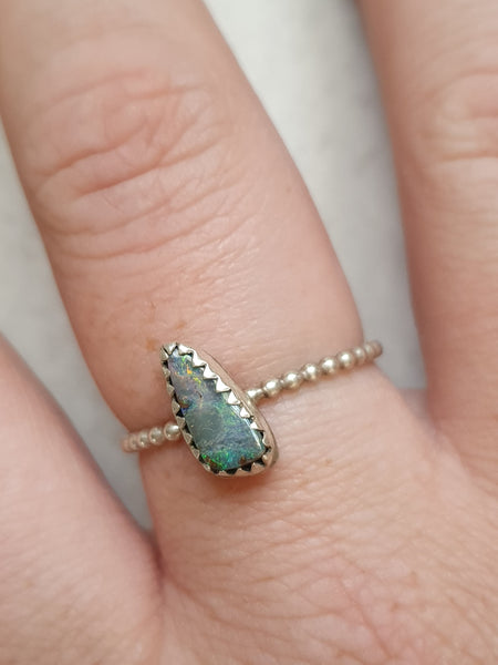 Dainty Boulder Opal sterling ring