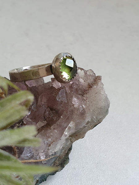 Rose cut Peridot sterling ring