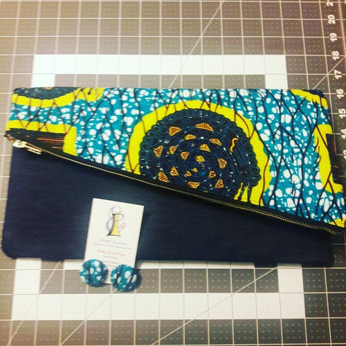 Blue, Yellow, and Black Ankara/Denim Clutch