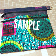 Denim/Ankara Crossbody Bag with Adjustable Strap