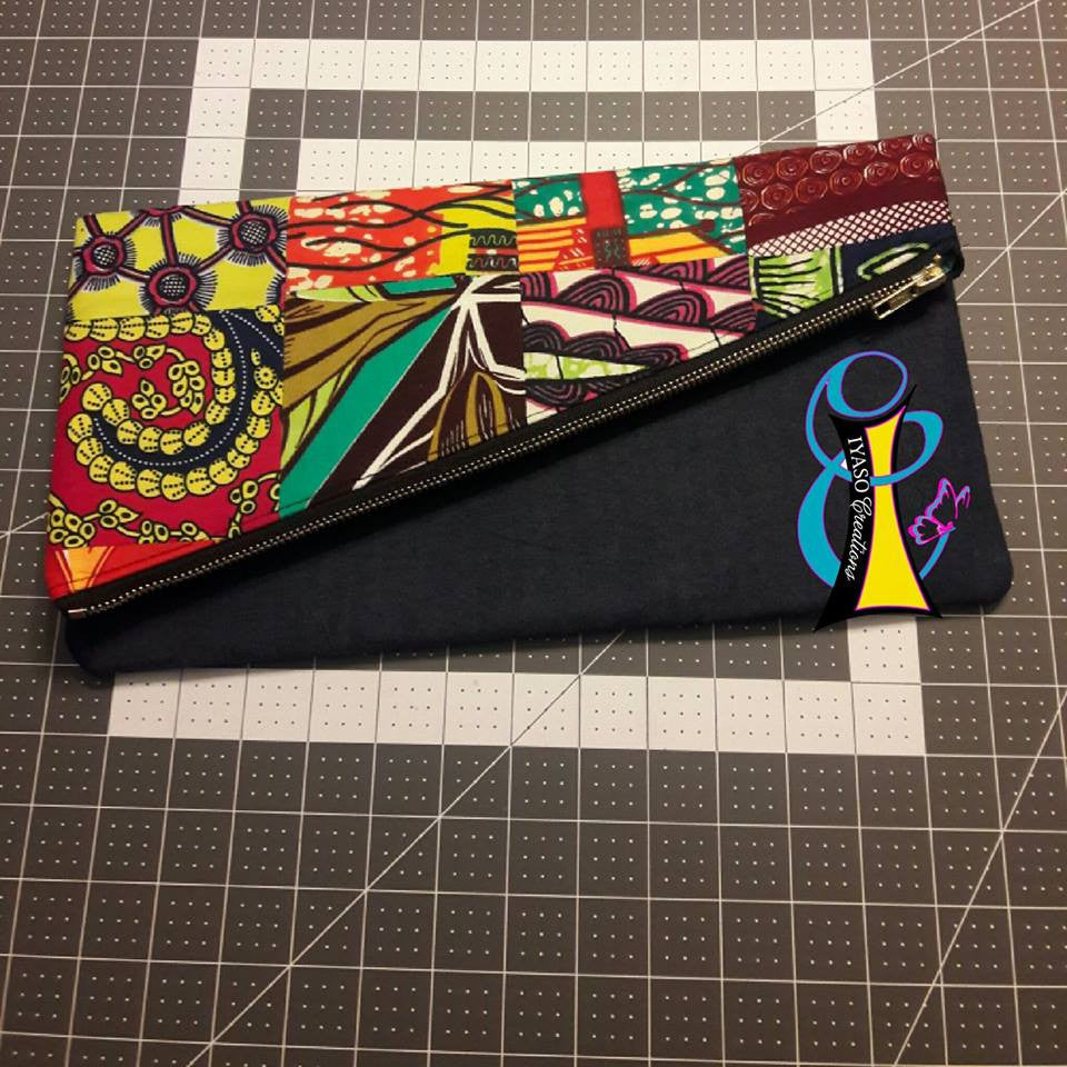 Patchwork Ankara and Denim Clutch