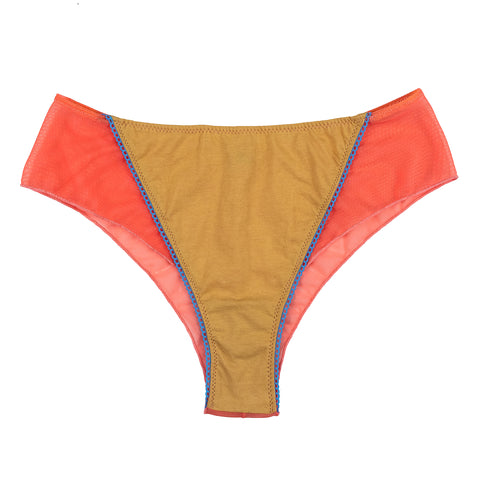 MESH PANTY - Coral/Gold