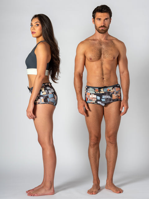 Unisex Water Short - Reversible Paint Chip Print / Grey