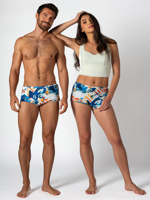 Unisex Water Short - Reversible Urban Surf Print / Jade