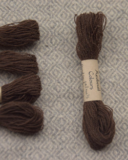 Dark brown (gallnuts & iron) embroidery thread/weaving yarn