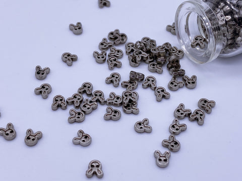 B072 Metal Color 4mm Bunny Head Buttons Micro Mini Buttons Tiny Buttons Doll But