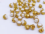 B094 White Silver/Gold Color Base Pearl Button Tiny Buttons Doll Sewing Craft