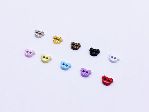 B124 Bear Head 5mm Micro Mini Buttons Flower Buttons Tiny Buttons Doll Sewing