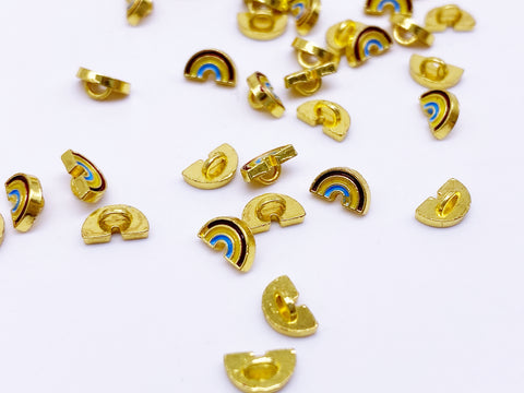 B160 Cute Little Rainbow Gold Color Base Shank Buttons Micro Mini Buttons Tiny Buttons Doll Buttons Doll Sewing Craft Supplies