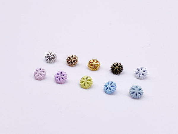 B175 5mm Snowflake Shank Buttons Micro Mini Buttons Tiny Buttons Doll Buttons Doll Sewing Craft Supplies