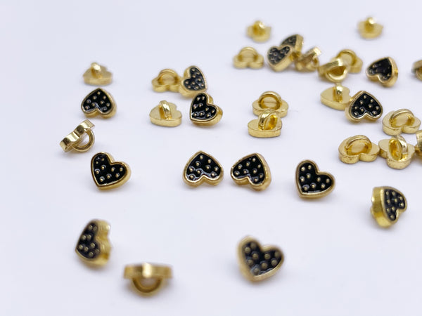 B186 Color Coat Heart 5mm Metal Shank Buttons Micro Mini Buttons Tiny Buttons Doll Buttons Doll Sewing Craft Supplies