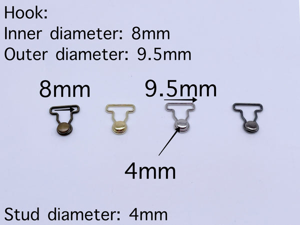 B187 Metal Color 9mm Mini Overall Hook Buckles Sewing Craft Doll Clothes Making Sewing Supply