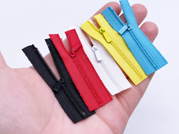 W024 Mini Rectangle Zipper Puller 6CM Zipper Mini Tiny Super Small Zipper Doll Sewing Craft Doll Clothes Making Sewing Supply