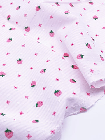 F015 Cute Strawberry 45×35cm Cotton Fabric For Doll Clothes Sewing Doll Craft Se