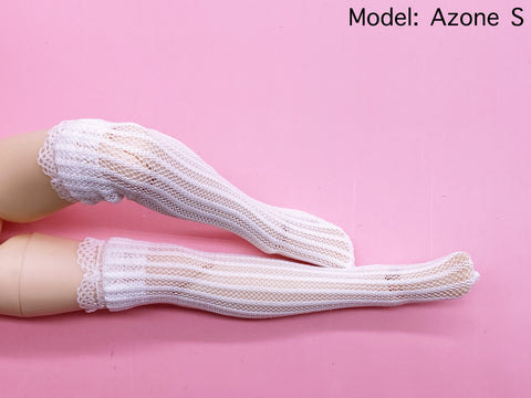 C020 White Lace Handmade Doll Socks For Blythe Barbie Azone PP FR 1/6 Doll