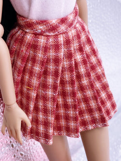 C021 Handmade Pleated Plaid Skirt Doll Clothes Doll Short For Barbie PP Blythe
