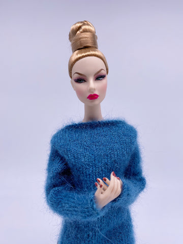 "Handmade by Jiu 011 - Beige Casual Oversize Sweater For 12"" Dolls Like Fashion Royalty FR Poppy Parker PP Nu Face NF Barbie"
