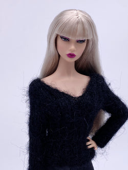 "Handmade by Jiu 002 - Black V neck Sweater For 12"" Dolls Like Fashion Royalty FR Poppy Parker PP Nu Face NF Barbie"