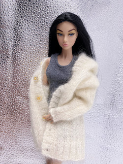 "Handmade by Jiu 005 - White Oversize Cardigan Sweater For 12"" Dolls Like Fashion Royalty FR Poppy Parker PP Nu Face NF Barbie"