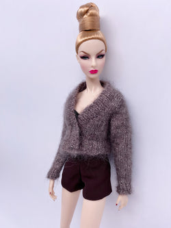 "Handmade by Jiu 006 - Brown Cardigan Sweater For 12"" Dolls Like Fashion Royalty FR Poppy Parker PP Nu Face NF Barbie"