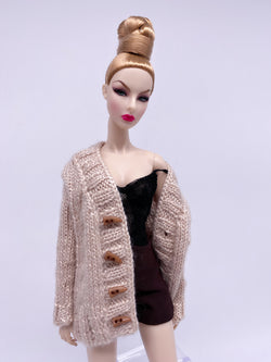 "Handmade by Jiu 013 - Beige Cardigan Sweater For 12"" Dolls Like Fashion Royalty FR Poppy Parker PP Nu Face NF Barbie"