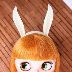 A046 Ivory White Cute Bunny Ear Headband For Blythe 1/4 1/6 1/8 BJD Barbie Mmk