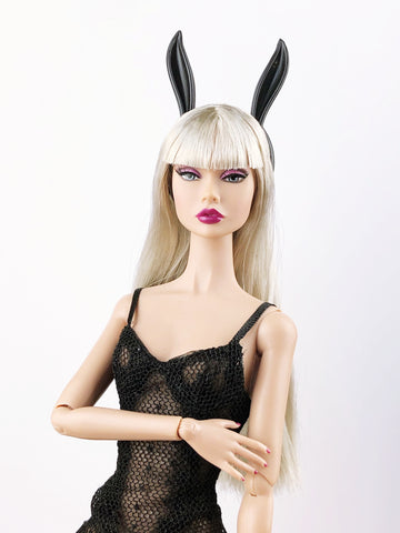A047 Black Bunny Ear Headband For  Barbie Poppy Parker Fashion Royalty Doll Hair
