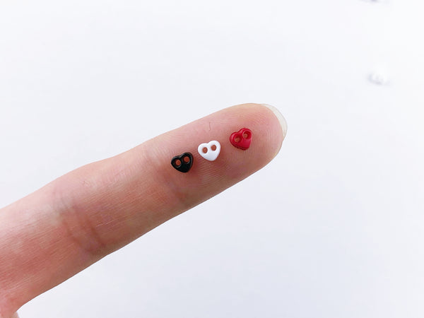 B018 Heart 4mm Buttons Micro Mini Buttons Tiny Buttons Doll Buttons Doll Sewing Craft Supplies