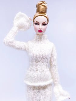 "Handmade by Jiu 014 - White Turtle Neck Sweater For 12"" Dolls Like Fashion Royalty FR Poppy Parker PP Nu Face NF Barbie"