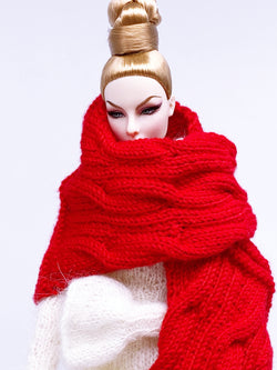 "Handmade by Jiu 016 - Red Scarf Cape For 12"" Dolls Like Fashion Royalty FR Poppy Parker PP Nu Face NF Barbie"