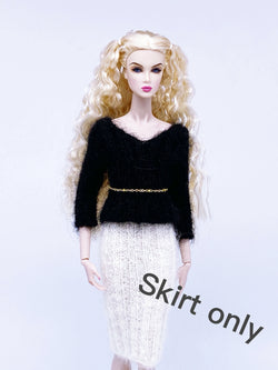 "Handmade by Jiu 015 - White Pencil Skirt Knitting Clothes For 12"" Dolls Like Fashion Royalty FR Poppy Parker PP Nu Face NF Barbie"