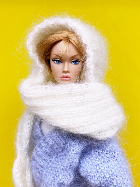 "Handmade by Jiu 017 - White Mohair Scarf Cape For 12"" Dolls Like Fashion Royalty FR Poppy Parker PP Nu Face NF Barbie"