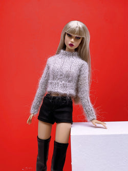 "Handmade by Jiu 008 - Brown Turtle Neck Sweater For 12"" Dolls Like Fashion Royalty FR Poppy Parker PP Nu Face NF Barbie"