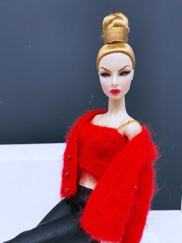 "Handmade by Jiu 026 - Red Cardigan And Chain Knitting Tank Top For 12"" Dolls Like Fashion Royalty FR Poppy Parker PP Nu Face NF Barbie"