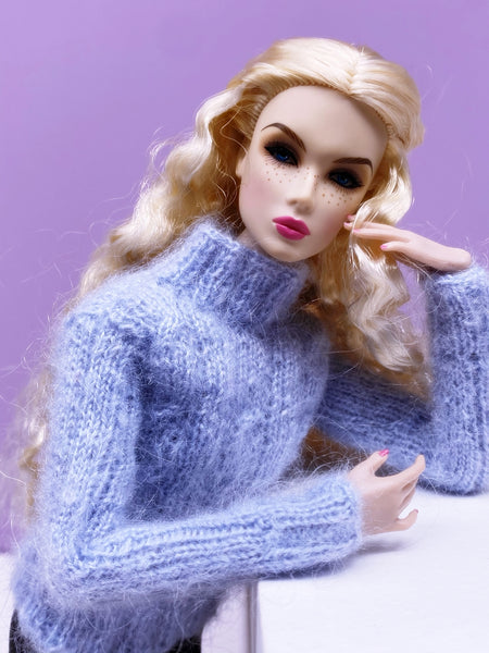 "Handmade by Jiu 020 - Blue Cozy Turtle Neck Sweater For 12"" Dolls Like Fashion Royalty FR Poppy Parker PP Nu Face NF Barbie"