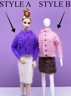 "Handmade by Jiu 022 - Purple Cute Pattern Cardigan Sweater Clothes For 12"" Dolls Like Fashion Royalty FR Poppy Parker PP Nu Face NF Barbie"