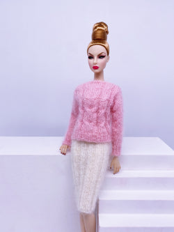 "Handmade by Jiu 021 - Pink Cozy Turtle Sweater Doll Clothes Top For 12"" Dolls Like Fashion Royalty FR Poppy Parker PP Nu Face NF Barbie"