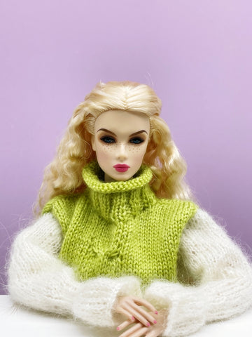"Handmade by Jiu 028 -  Green Oversized Sweater Dress For 12"" Dolls Like Fashion Royalty FR Poppy Parker PP Nu Face NF Barbie"