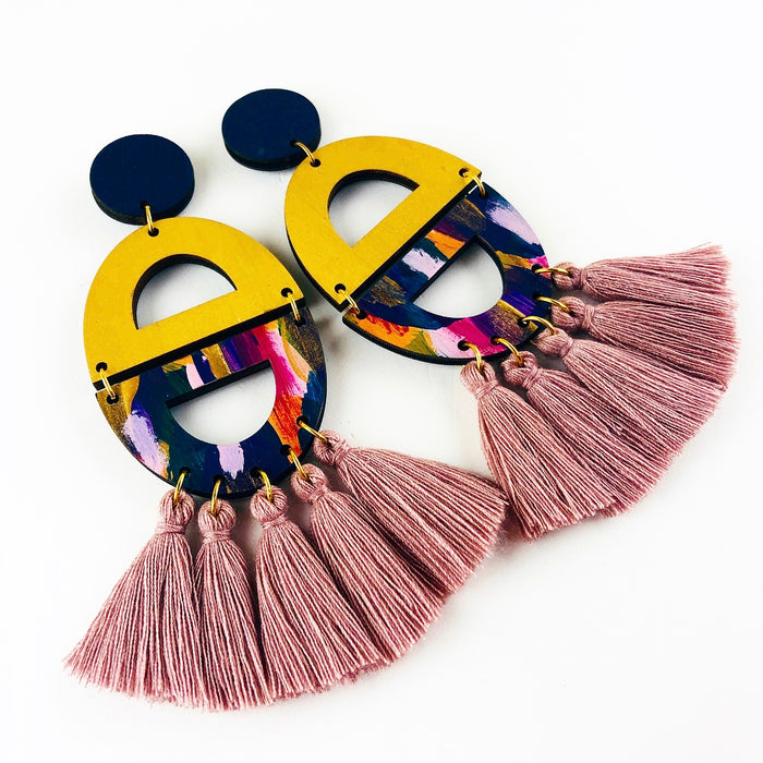 GLEBE Cosgrove Drop Earrings (Dusty PinkTassels)