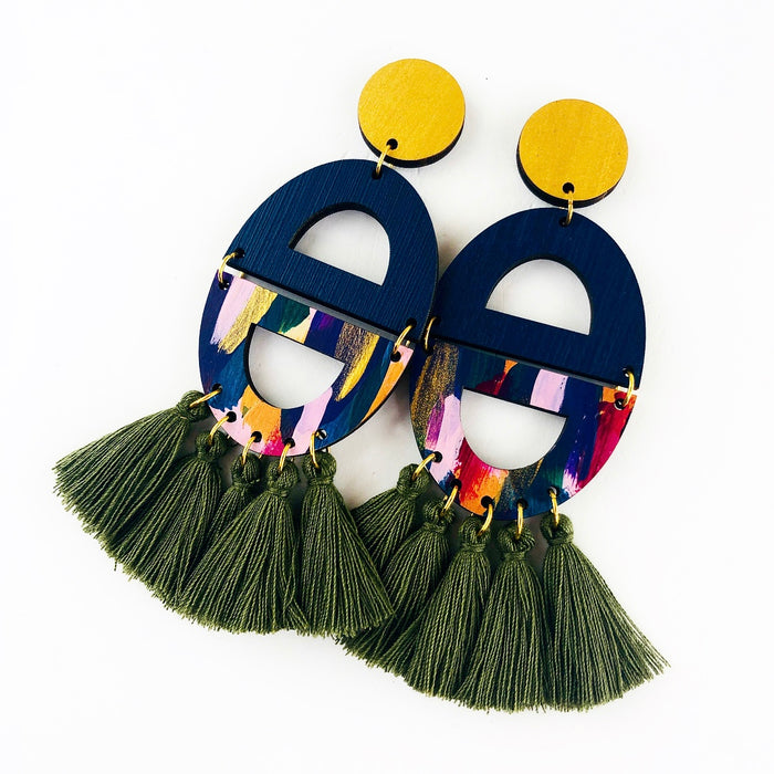 GLEBE Cosgrove Drop Earrings (Olive Tassels)