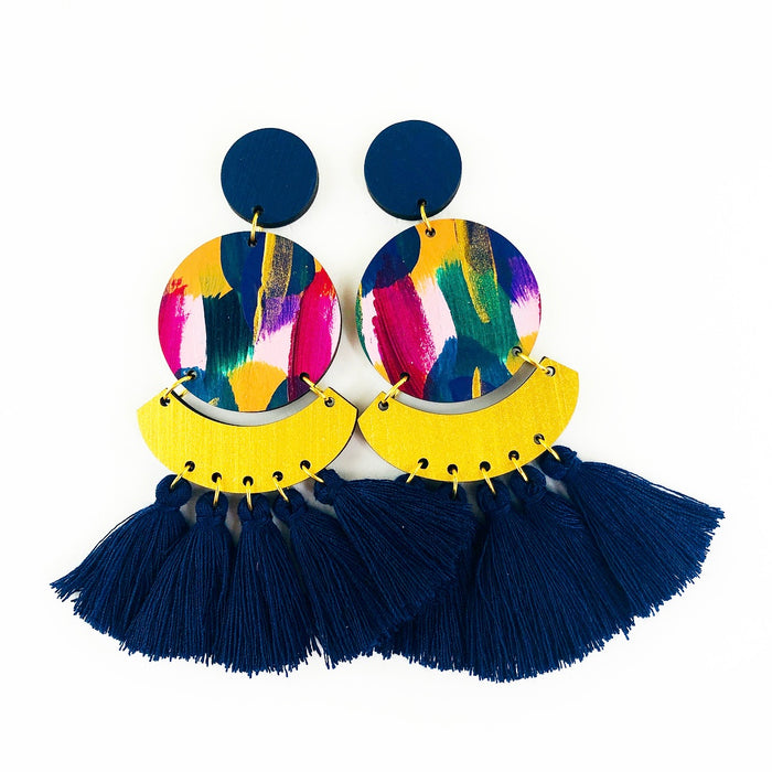 GLEBE Kirby Drop Earrings (Navy Tassels)