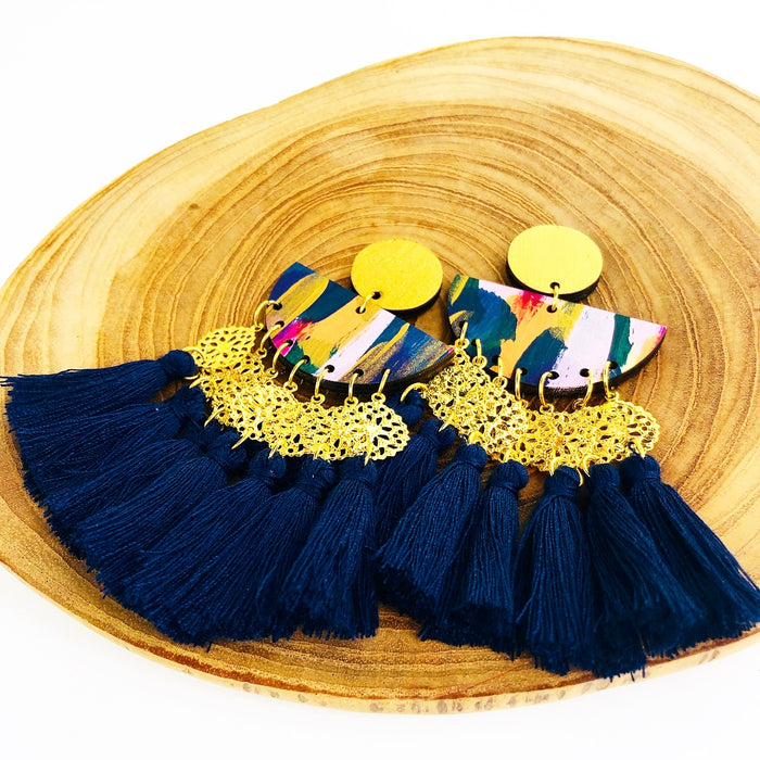 GLEBE Chapel Drop Earrings (Navy Tassels)